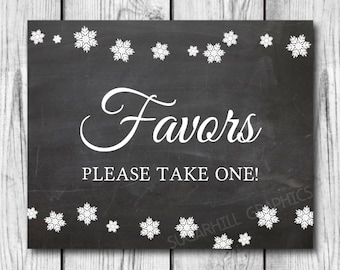Chalkboard Wedding Sign, Printable Wedding Sign, Favors Sign, Instant Download, Winter Wedding Signage