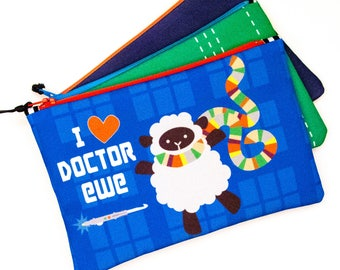 Zipper Bag, I heart Dr Ewe, Doctor Who Parody, Sheep Notions Bag, 13th Doctor