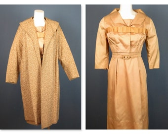 Vintage Mid Century Three Piece Dress, Bolero Jacket, Duster Jacket / Coat Sz M