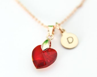 Rose Gold Necklace, Red Heart Necklace, Garnet Necklace, January Birthday Gift, Love  Heart Charm, Mother's Day Gift, Girlfriend Gift, N166