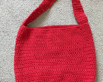 Lily Sugar and creme cotton  'Red' crochet market/multi-use tote bag. Large, handmade
