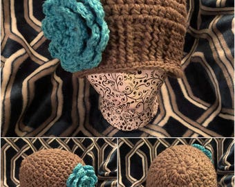 Crochet beanies with flowers