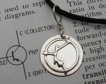 PNP Transistor Symbol Sterling Silver Pendant - Electronics Science Jewelry - Nerd Necklace,Teacher, Geekery, Geek