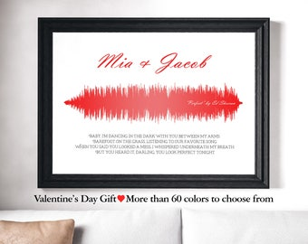 Wife Gift, Anniversary Gift, for Him, Custom Sound Wave for Any song, Valentine's Day Husband, Soundwave Poster Wedding First Song Gift
