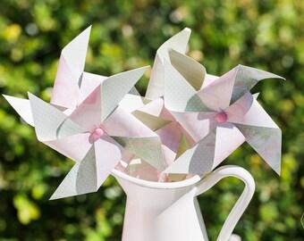 Pink & green pastel pinwheels
