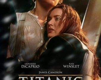 Titanic Poster Leonardo DiCaprio Kate Winslet on High Quality Display Film