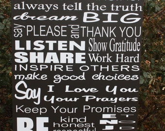 Custom Family Rules wood sign 18x30