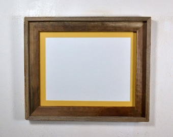 "Rustic picture frame with 9"" x 12"" yellow mat fits 8x10,8.5x11,8x12 or 9x12, 20 mat colors available"
