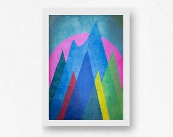 Geometric Art, Mountain Art, Scandinavian Art, Contemporary Art Print, Abstract Landscape, Modern Abstract Art