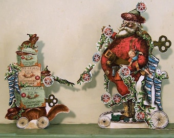 Digital Santa Decoration Or 3D Christmas Card - Vintage Altered Art Santa Claus, Chipmunks, Holly Paper Crafts XP8X