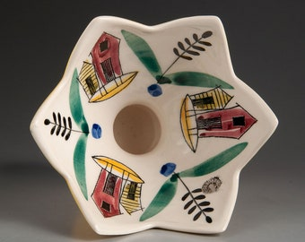 Stavangerflint, Norway - INGER WAAGE - Candle Stick / Bowl with Houses and Boats