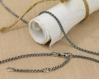 Adjustable Thin Oxidized Silver Wheat Chain Necklace, Argentium Sterling 1.7mm thick, Lobster Clasp, 14 to 16, 15 to 17, 16 to 18 inch +more