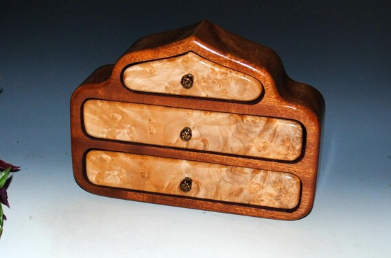 Wooden Jewelry Box Three Drawers - Maple Burl on Mahogany - Pagoda Jewelry Box, Small Wood Jewelry Box, Burl Jewelry Box, Wood Jewelry Boxes