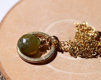 Green Garnet Necklace, Gold Circle Necklace, Grossular Garnet Necklace, 14k Gold Fill, Olive Green Gemstone Briolette, January Birthstone
