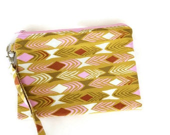 Olive green and pink geometric double zippered iPhone 8 wristlet purse.