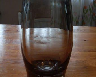 Old Heavy 1940's Elis Bergh Kosta Boda Vase Smokey Colour Sweden Glass Scandinavian Signed
