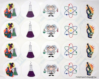 Mad Scientist, Science Theme, Stickers, Birthday Party, Favors, 20 Large Stickers