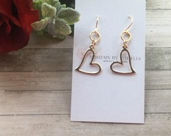 Love heart earrings, dangle earrings, gold heart earrings, gift for her.