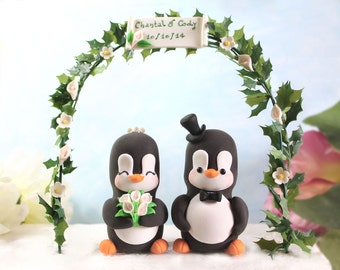 Unique Wedding cake topper elegant Penguins with floral arch - bride groom figurines personalized wedding gift white pink calla lilies names