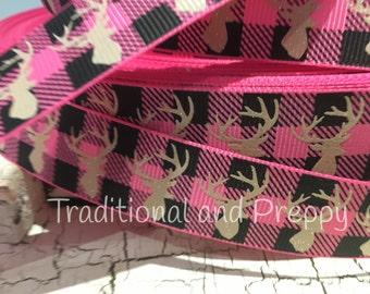 "7/8"" Glitter Moose buffalo plaid hot pink tan and black grosgrain"