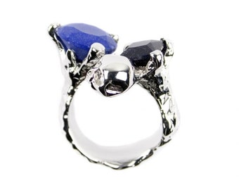 Claw Silver Midnight Blue Ring, Silver Coated, Crystals, Skull, Claw, Women's Ring