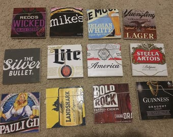 Up-Cycled Beer COASTERS- booze drink glass cup bar by GmaJanisew