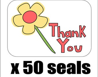 """50 Simple Flower Thank You Envelope Seals / Labels / Stickers, 1"""" by 1.5"""""""