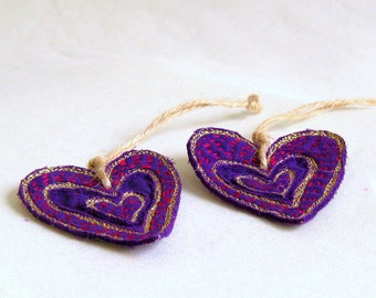 Heart ornament purple hand embroidered Valentines Christmas