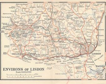 1929 Lisbon Portugal Antique Map