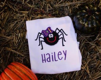 Halloween Spider Shirt, Girls Halloween Shirt, Spider Bow Shirt, Cute Halloween Shirt