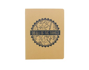 Do All of the Things Notebook Letterpressed Moleskine Journal To Do List in Navy Ink on Kraft with Gridded Interior Printed in Cleveland