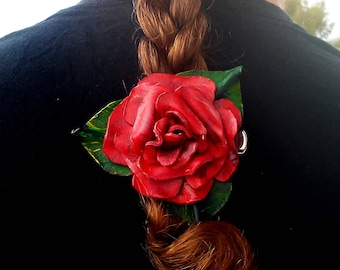 Leather Rose hairclip