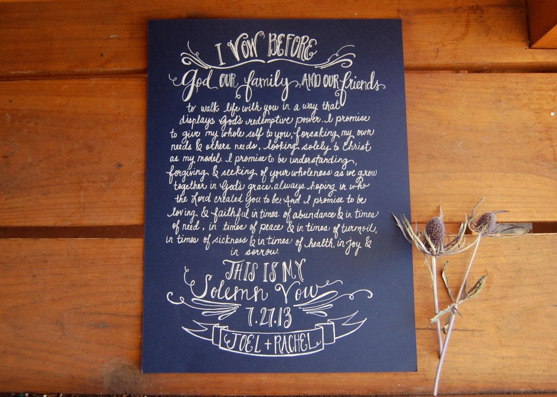 Hand Written Vows Wedding Vow Artwork Calligraphy