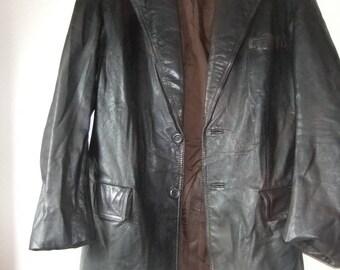 1970s black leather jacket sz 14