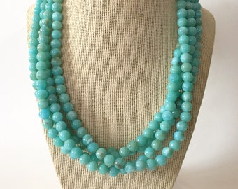 Robins Egg Blue Chunky Statement Necklace
