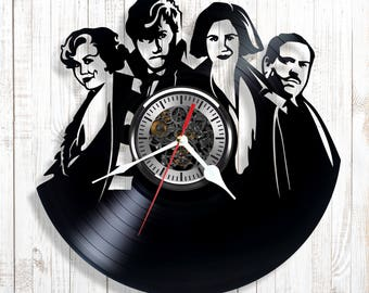 Silent wall clock Fantastic Creatures made out of real vinyl record