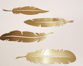 Gold feather die cuts gold paper feather cutouts feather confetti feather die cuts gold foil feathers
