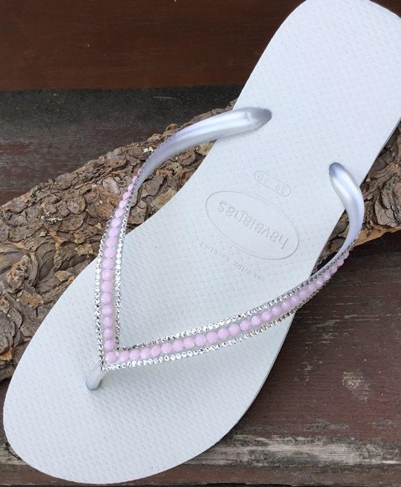 Bride Flip Flops Havaianas White Petal Pink Rose Blush w/ Swarovski Rhinestone Jewels Beach Wedding Bridal Bridesmaid Bling Slippers Shoes