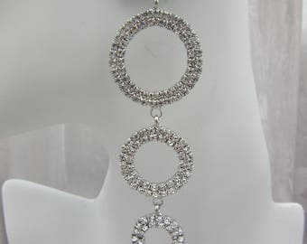 Circle Attached Drop Earrings Layered Silver Shine
