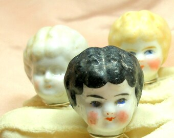 Frozen Charlotte DOLL sterling ring, 1800's Victorian china head on adjustable silver, Black haired doll.