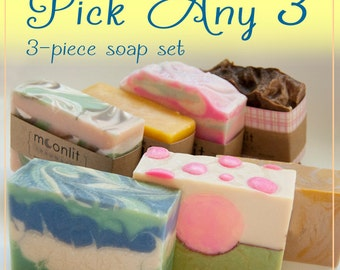 3-PC Set - Pick Any 3 Soaps  - Handmade Cold Process Artistan Soaps