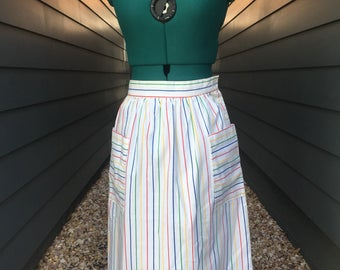 70's Striped Skirt // vintage skirt // vintage rainbow skirt // cotton skirt