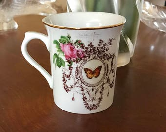 Coffee Cup Mug French design roses Friendship Butterfly Flourish