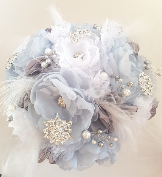 Silver Grey Bridal Brooch Bouquet Fabric Flower Bouquet