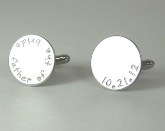 Father of the Bride Cuff Links - Wedding Gift Groom Anniversary Gift Personalized Cuff Links Custom Cufflinks