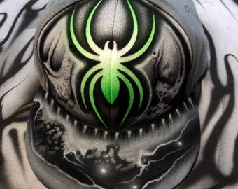 Airbrushed Spider Snapback Hat Galaxy Jet Stream edition Hand Painted airbrush