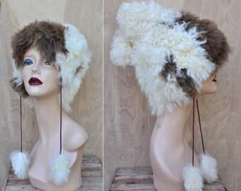 SALE Pixie Chunky Curly Lamb Fur Hat with Pom Pom Vintage Fur Hat Tuscan Lamb Sheep Fur Wool  Warm Winter Ski RARE Soft Fur Hat 60s 70s