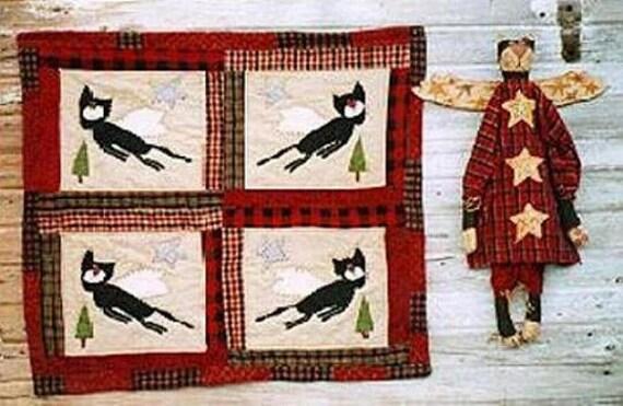 Mini Cat Quilt Pattern EPattern Black Cat Angel Doll PDF Wall