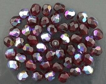 25 garnet  ab czech fire crystal beads 4mm