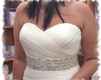 Rhinestone Crystal Wedding Sash, Jeweled Wedding Dress Belt, Wide Crystal Statement Bridal Sash, Wide Bridal Gown Belt, No. 1126S4-18-3060